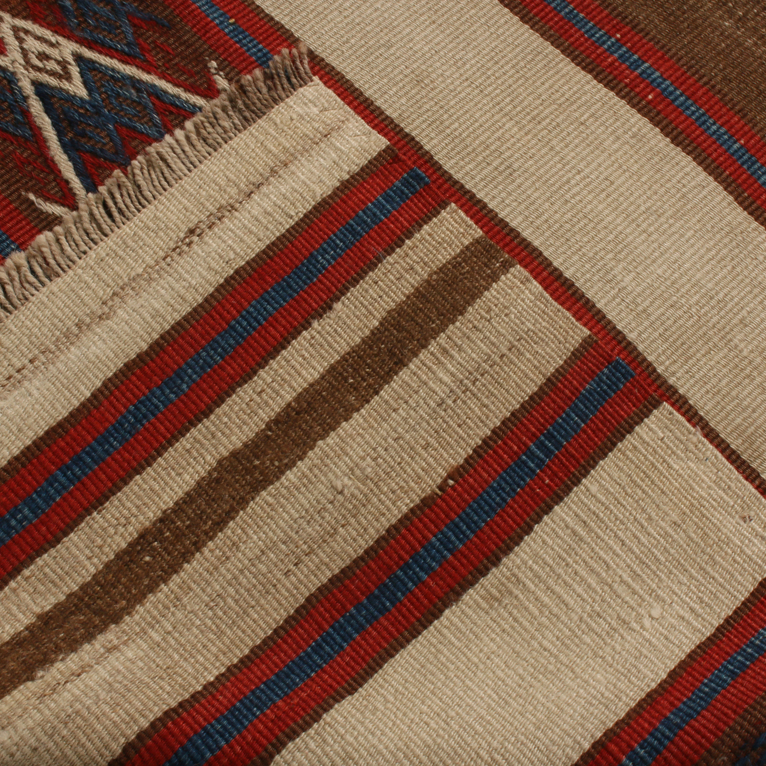 Vintage Mid Century Fatiye Beige Brown Wool Kilim Rug Crimson Red Navy Blue Accents 2 4 X 6 8 19730 Rug Kilim