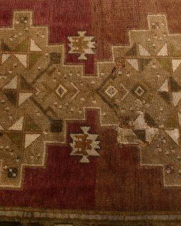 Vintage Mid-Century Beige Brown Oushak Rug