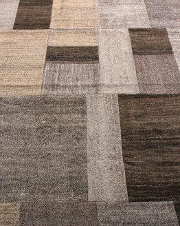 Patchwork Kilim Beige Brown Gray Mid-Century Flatweave