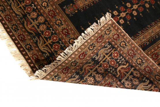 Antique Ghiordes Rug Brown Black Mihrab