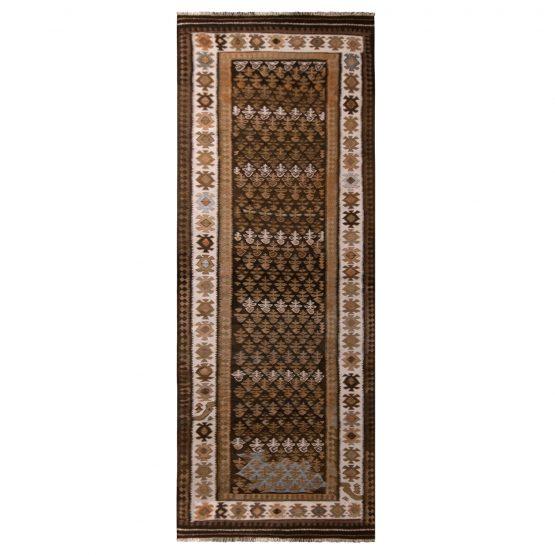 Vintage Beige Brown Qazvin Persian Kilim