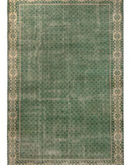 1960s Mid-Century Vintage Green Rug