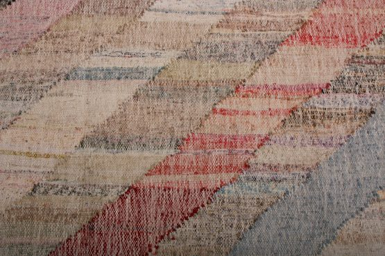 Contemporary Kilim Beige Pink Striped Pattern