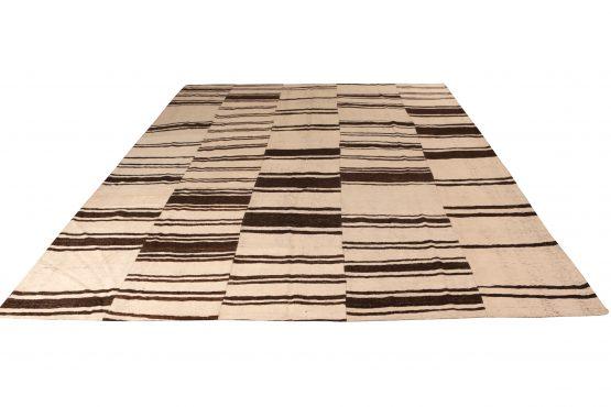 Vintage Kilim Beige Brown Striped Pattern